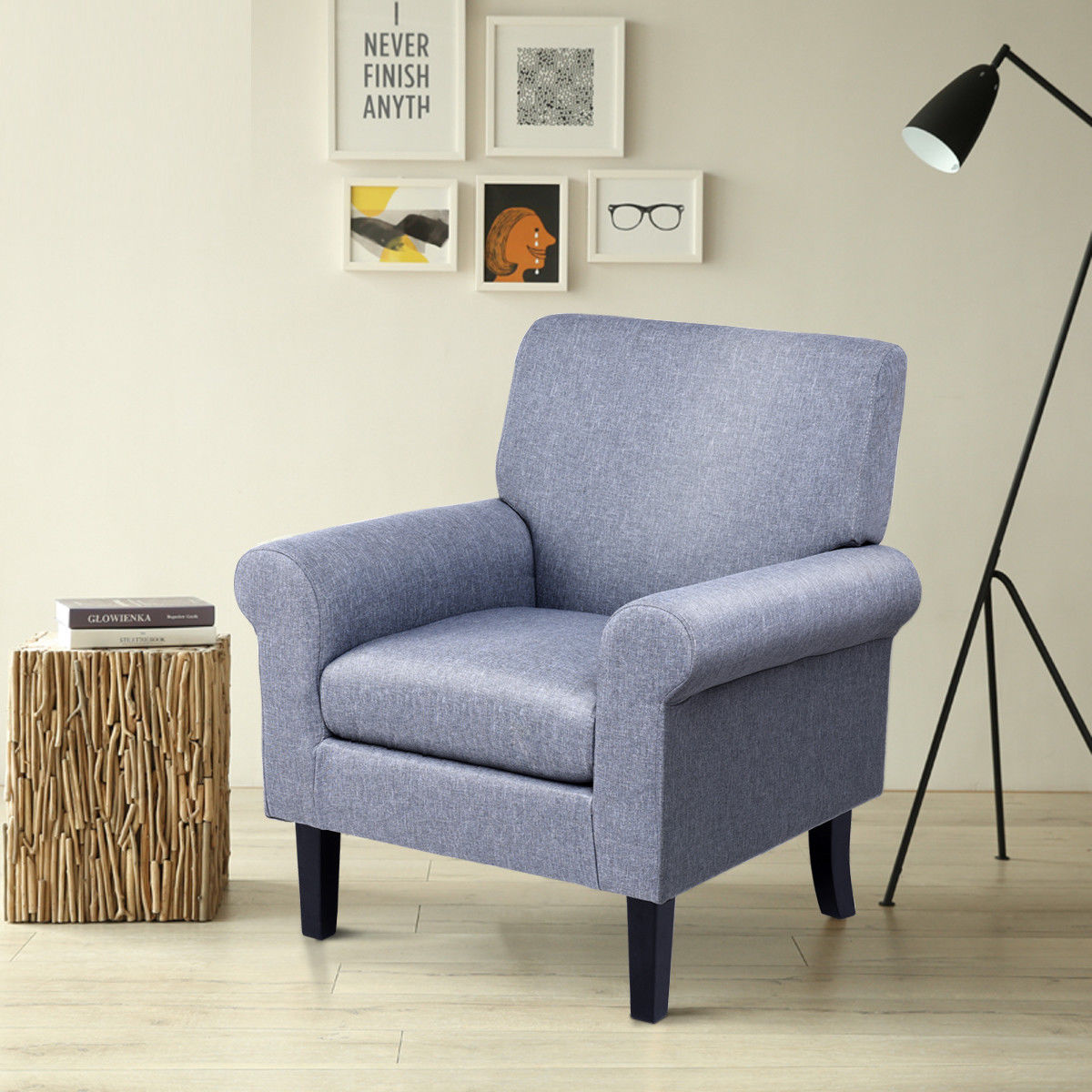 Gymax Fabirc Club Chair Accent Arm Chair Upholstered Single Sofa Living Room Furniture