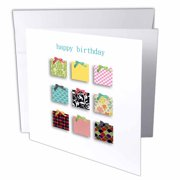3dRose Happy Birthday text with modern colorful 2D presents or gift boxes, Greeting Cards, 6 x 6 inches, set of 6