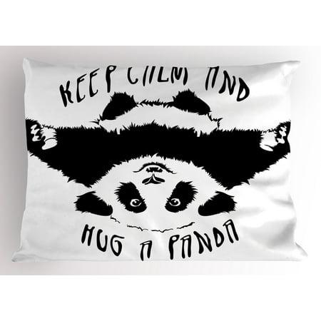 Black and White Pillow Sham Funny Animal Mascot