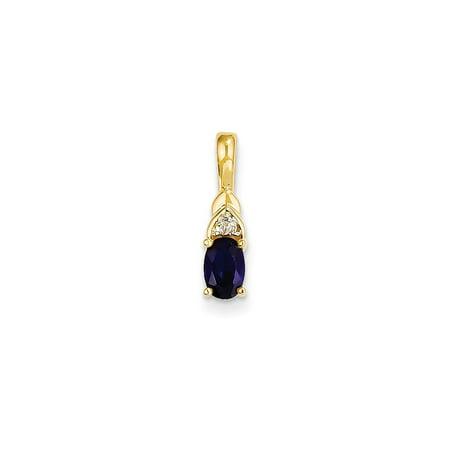 14k Yellow Gold Diamond Sapphire Pendant Charm Necklace Gemstone Birthstone September Gifts For Women For - 14k Diamond Girl Charm