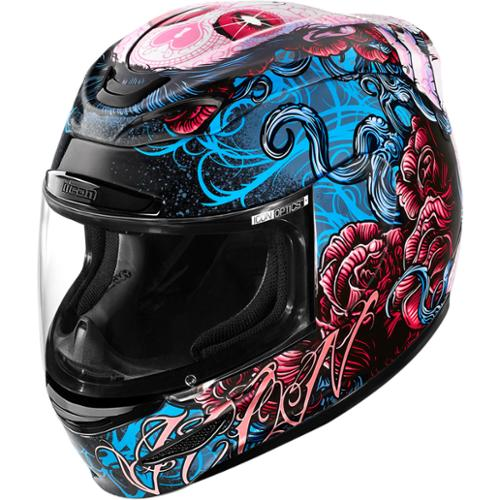 Icon Airmada Sugar Motorcycle Helmet Pink/Blue