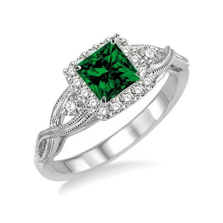 1.50 Carat Princess cut Emerald and Diamond Engagement Ring in 14k White Gold affordable emerald and diamond engagement (Best Affordable Engagement Rings)