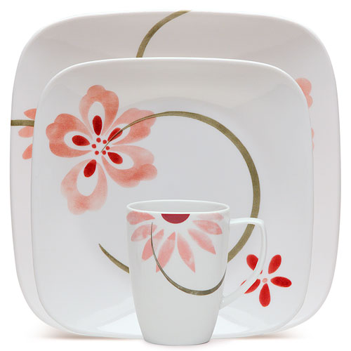 Corelle Squares Pretty Pink 16-Piece Dinnerware Set