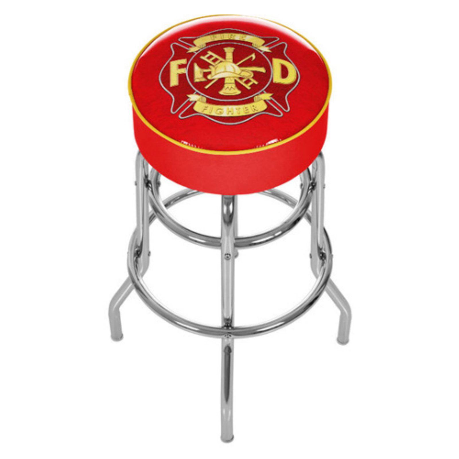 """Trademark Global Fire Fighter Logo 30"""" Padded Bar Stool"""