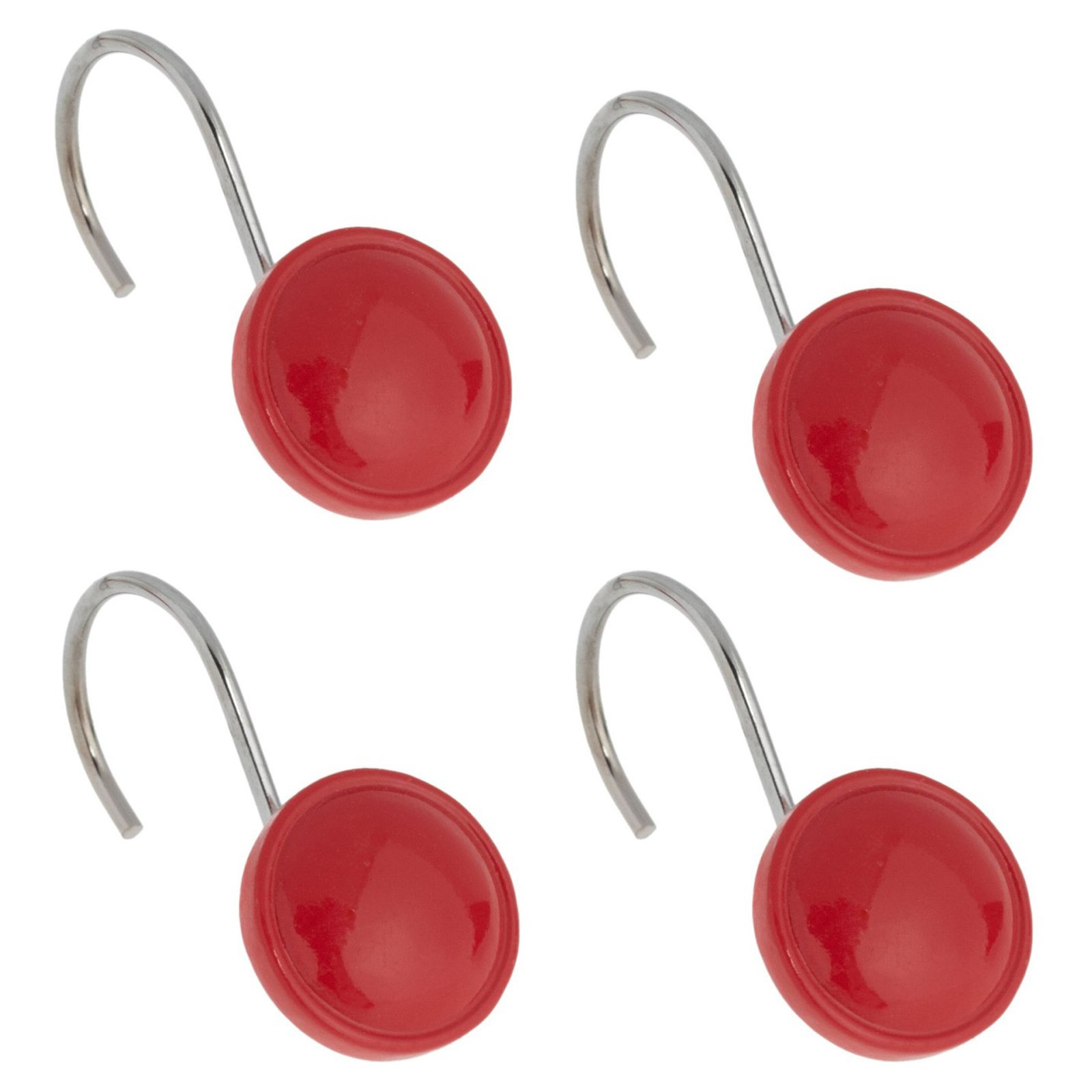 Sweet Home Collection Color Rounds Red Hand Crafted Bathroom Shower Curtain Hooks - Set of 12
