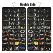 80 Pocket Double Side Hanging Jewelry Organizer Accessories Holder Storage Bag