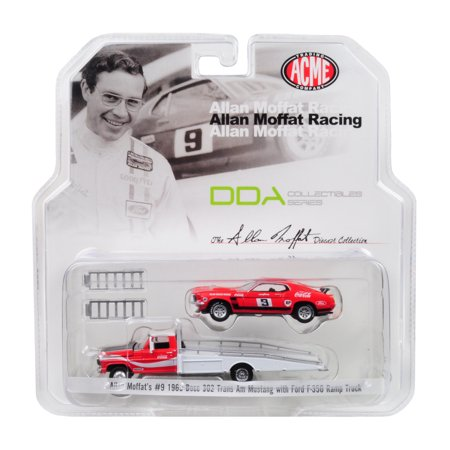 1969 Ford 302 - Allan Moffat 1968 Ford F-350 Ramp Truck & 1969 Ford Mustang Boss 302 Trans Am #9 Coca Cola 1/64 Diecast Model by Acme