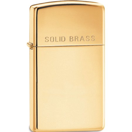 High Polish Solid Brass Lighter - Zippo Slim High Polish Solid Brass Lighter Designer Jewelry by Sweet Pea