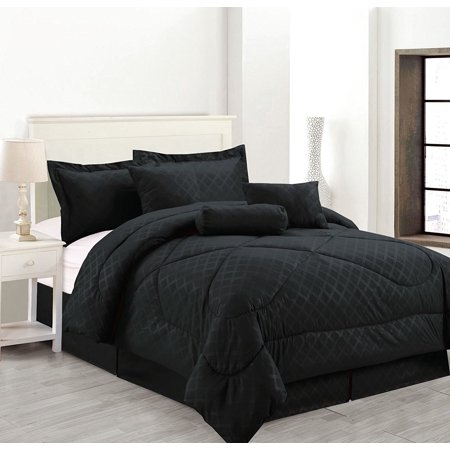 Luxury Hotel King Size 7 Piece Embossed Solid Over Sized Comforter Set Bed In A Bag Black