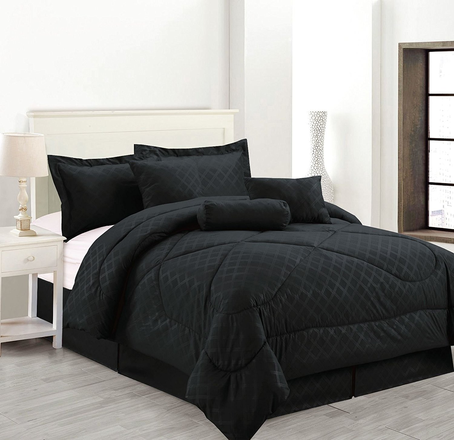 Luxury Hotel King Size 7-Piece Embossed Solid Over-Sized Comforter Set Bed in A Bag Black