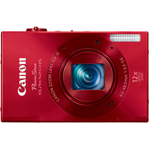 """Canon PowerShot ELPH 520 HS Red 10.1MP Digital Camera with 12x Optical Zoom, 3.0"""" LCD, HD Movie Recording"""