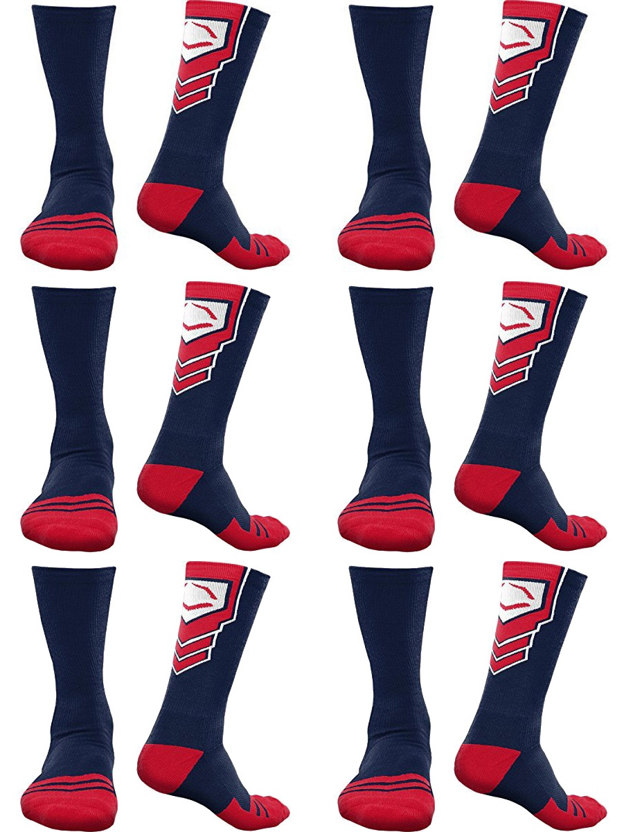 EvoShield Performance Crew Socks Pair (Navy Blue w/ Red & White, 6-Pack)
