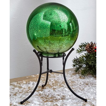 The Lakeside Collection Mercury Glass Lighted Gazing Ball with Stand & Timer - Green ()