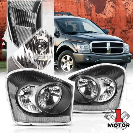 Black Housing Headlight Lamp Clear Turn Signal Reflector For 04 06 Dodge Durango 05