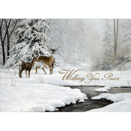 LPG Greetings Dear and Stream in Winter Box of 18 Nature Christmas Cards ()