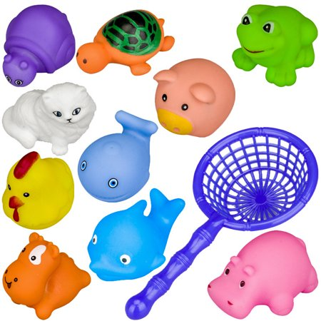 10Pcs Lovely Animals Baby Bath Toys + Net, Soft Rubber Kids Water Toys, Float Squeeze Sound Squeaky Beach Bathroom Toy for Children Color:Multicolor