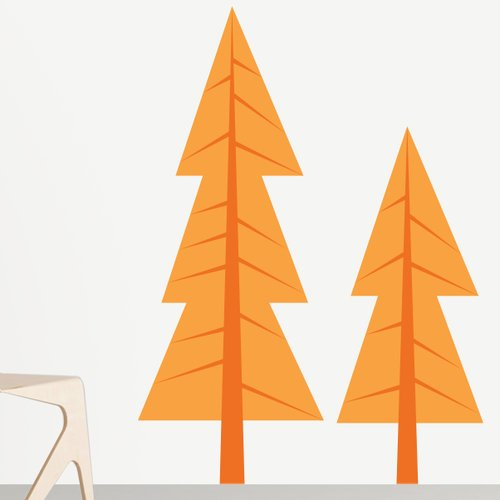 Sunny Decals 2 Piece Modern Pine Tree Wall Decal Set