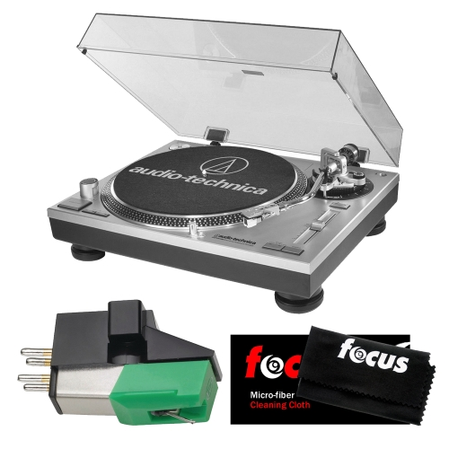 Audio Technica AT-LP120-USB Direct-Drive Professional Turntable (Silver) w  Knox Carbon Fiber Brush &... by Audio-Technica