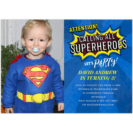 Superhero Party Birthday Young Boy Invitation](Superhero Party Invitations)