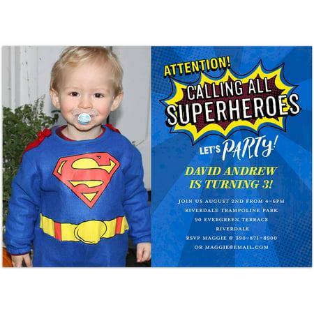 Superhero Party Birthday Young Boy Invitation (Superhero Wedding)