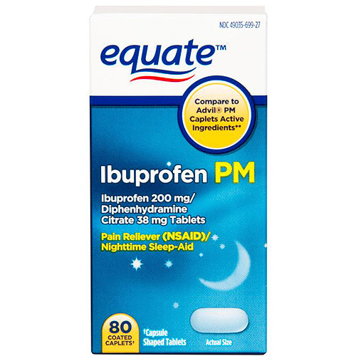 Equate Ibuprofen PM Caplets Pain Reliever/Sleep Aid 80 Ct