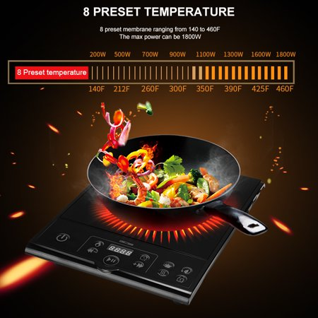 LIVINGbasics 1800-Watt Induction Cooker Cooktop ,Push Button controller, Black - image 6 of 7