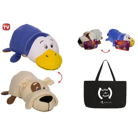 "FlipaZoo 16"" & Flipzee 5"" & FlipaTote COMBO (Milo PENGUIN / Wilder BULLDOG) Huggable Flip a Zoo Stuffed Animal is 2 Zoo Pets in 1!"