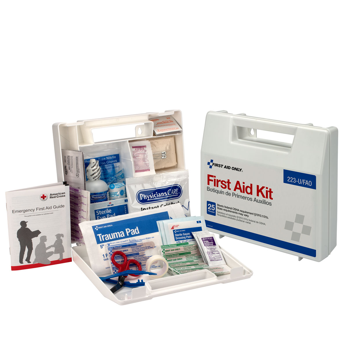 First Aid Only 25 Person First Aid Kit, Plastic Case with Dividers