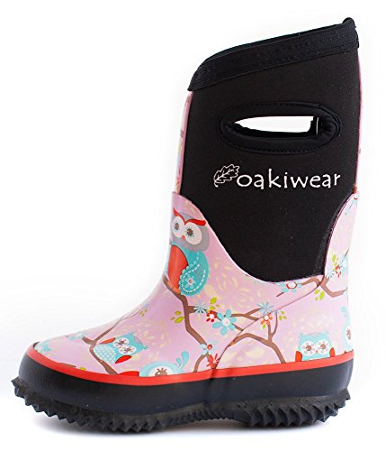 Oakiwear Kids Rain Boots For Boys Girls Toddlers Children, Perched Owls
