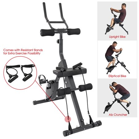 Xspec 3-in-1 Exercise Bike with Ab cruncher, Elliptical and Upright bike features for indoor cardio cycling (Best Spin Bikes For Sale)