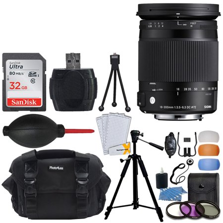 Sigma 18-300mm f/3.5-6.3 DC MACRO OS HSM Contemporary Lens for Nikon F(886306) + Photo4Less Case + 32GB Memory Card + 72mm Filter Kit + Flash Diffusers + Top Value Accessories