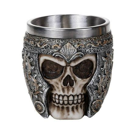 Medieval Viking Warrior Helmet Skull Cup Gothic Mug 8oz Drinking Vessel - Skull Warrior