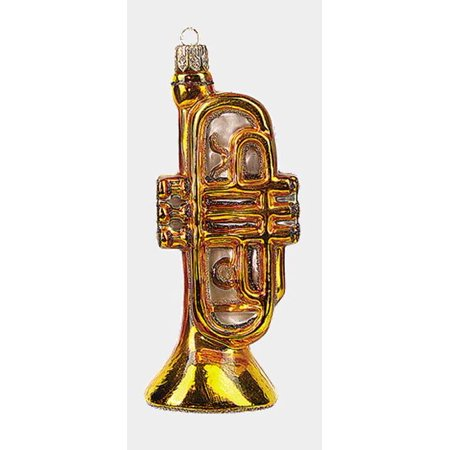 Trumpet Polish Blown Glass Christmas Ornament Musical Instrument Decoration (Christmas Decorations Musical Instruments)
