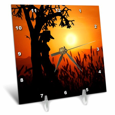 - 3dRose Sunset Cowgirl Western themed for a nice country life feel., Desk Clock, 6 by 6-inch