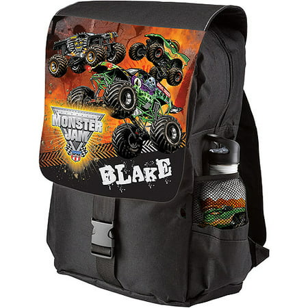 Personalized Monster Jam Revved Up Black Youth Backpack