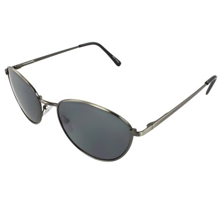 Retro Oval Fashion Sunglasses Black Frame Smoke Lenses for Women and (Oval Sunglasses For Men)
