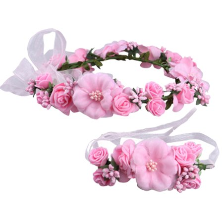 Flower Headband, Coxeer Bohemian Stylish Bridal Wreath Wedding Party Headband Bracelet Set for Women Girls (Flower Headband)
