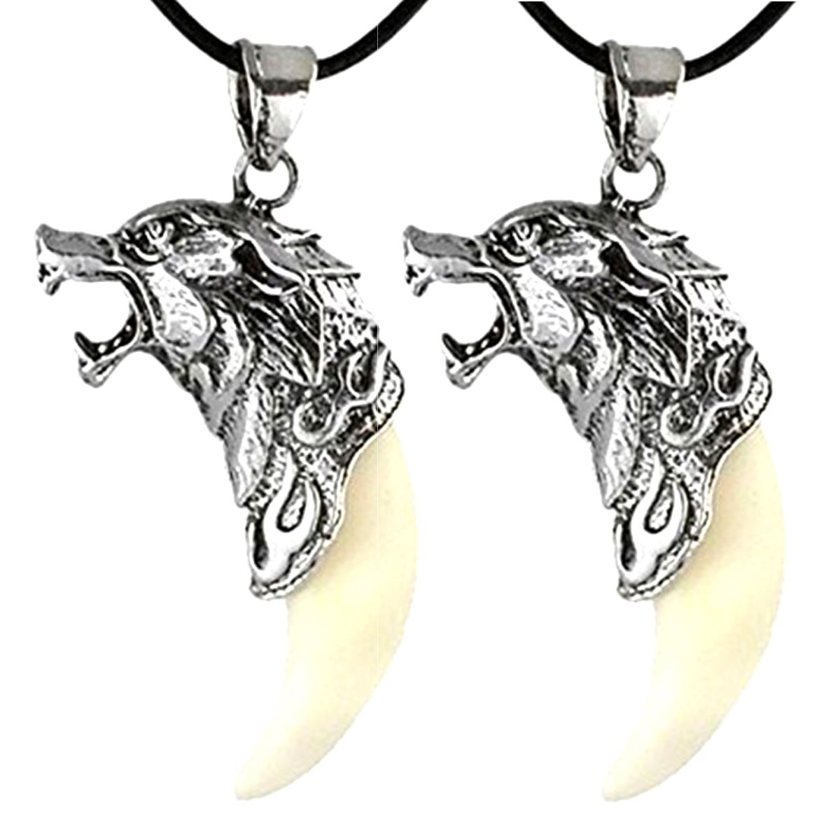 Two Wolf Head & Synthetic Fang Tooth Necklaces -  Pendant 2 Pack -  Unisex - Howling Spirit - Silver Titanium Steel Quality - Leather Necklace Band (2 pieces)