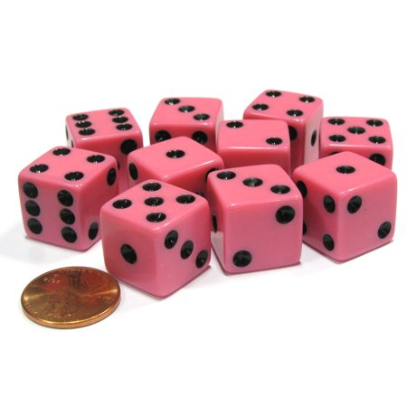 Koplow Games Set of 10 Six Sided Square Opaque 16mm D6 Dice - Pink with Black Pip Die #12634