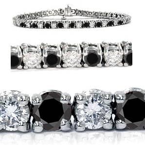 6.00Ct Heat Treated Black & White Diamond Tennis Bracelet 14K White Gold - image 1 de 1