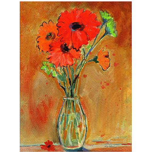 "Trademark Art ""Daisy Vase"" Canvas Wall Art by Shelia Golden"
