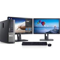 """Dell Optiplex SFF Windows 10 Professional Desktop Computer PC Intel i5 3.1GHz 8GB Ram 1TB HD 300Mps Wifi DVD-RW Dual 2x22""""LCD Monitor-Refurbished Computer"""