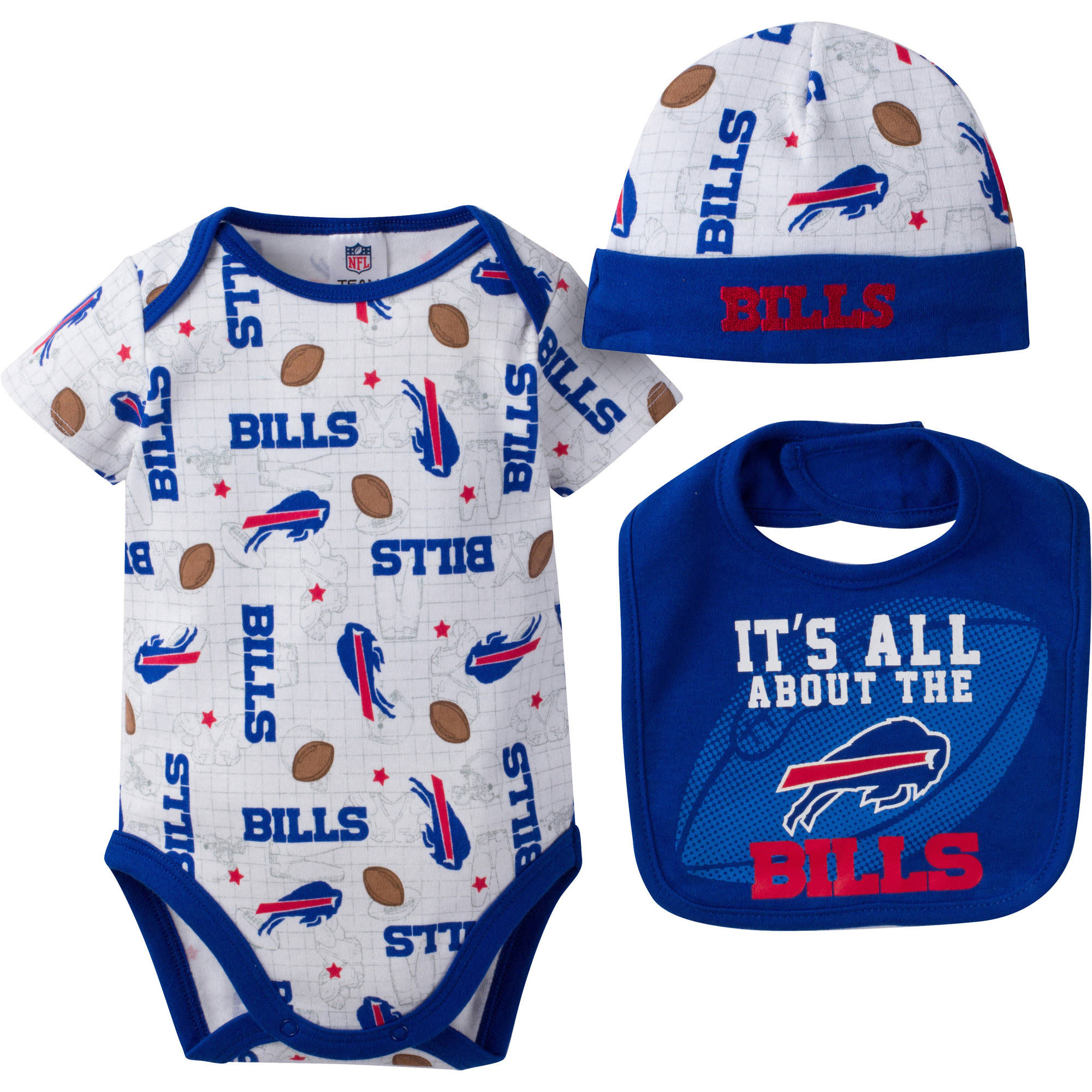 NFL Buffalo Bills Baby Boys Bodysuit, Bib and Cap Outfit Set, 3-Piece