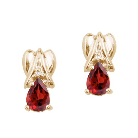 14k Yellow Gold Garnet and Diamond Pear Shaped -