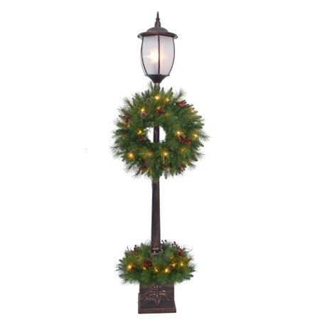 pre lit lamp post tree - Light Post Christmas Decorations