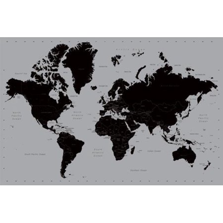 World Map Contemporary Earth Globe Black Gray Educational Poster   36X24 Inch