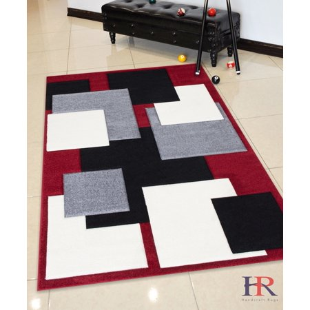 Handcraft Rugs Red White Black And Grey Beautiful Geometric Modern Contemporary Hand Curved Area Rug Com