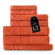 Lavish Touch 700 GSM 100% Egyptian Cotton 7 Piece Towels Set, 2 Bath Towels 27x54, 2 Hand Towels 16x24, 2 Wahcloths 13x13, 1 Bath Mat 20x32, Ultra Soft Absorbent Hotel Spa Quality - Coral Orange