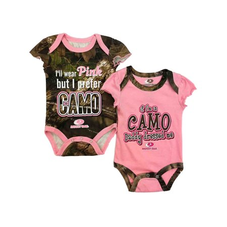Realtree Infant Girls 2pc I Wear Pink But I Prefer Camo Bodysuit Set Outfit