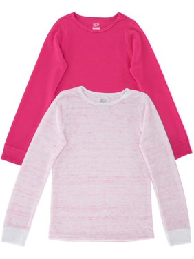 Fruit of the Loom Girls Thermals, 2 Pack Super Soft Waffle Thermal Undershirts (Little Girls & Big Girls)